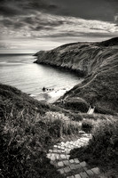 Aberdaron , Porth Simdde,black and white. ABDP bw