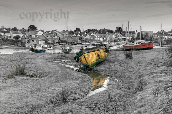 Abersoch inner harbour black and white with hand coloured effect.BWCB